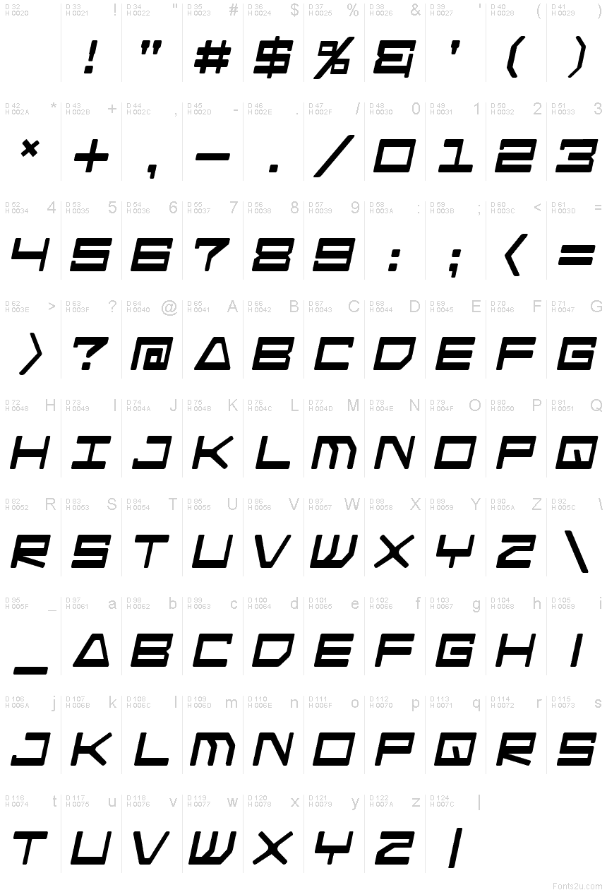 Android nation italic font