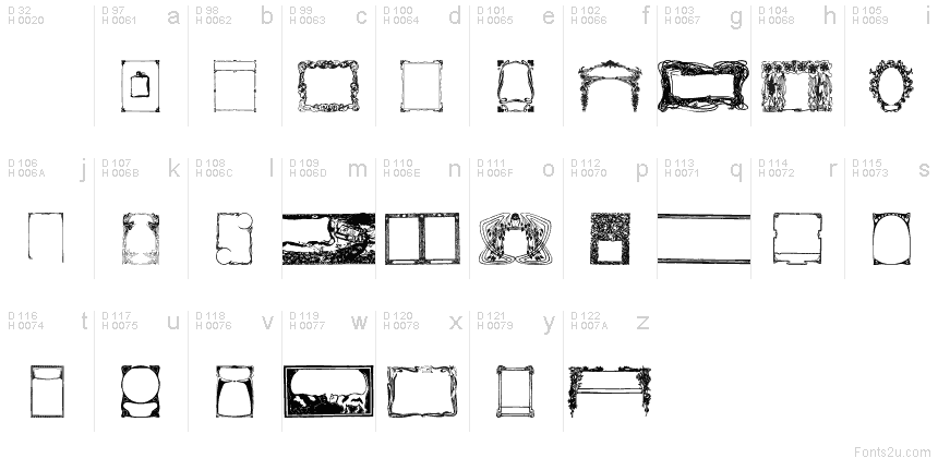 Art Nouveau Frames and Borders font
