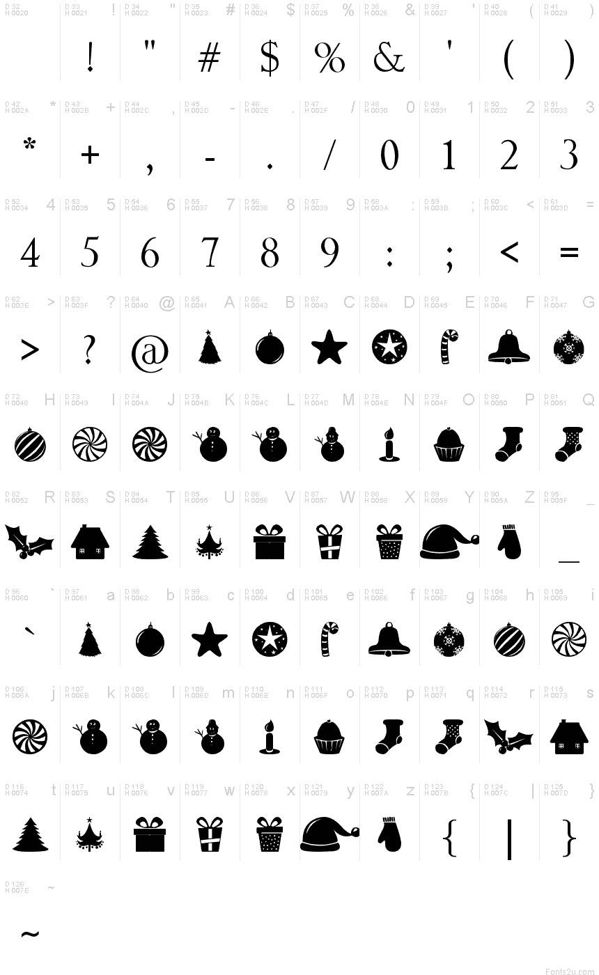 Vietnamese Calligraphy Christmas Shapes font