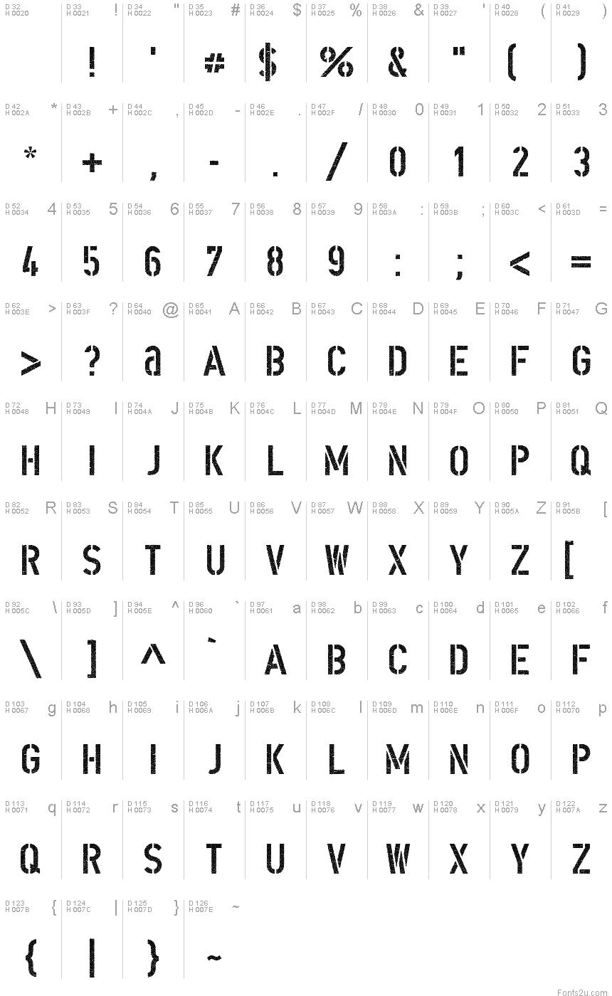 dinschablonierschriftcracked font