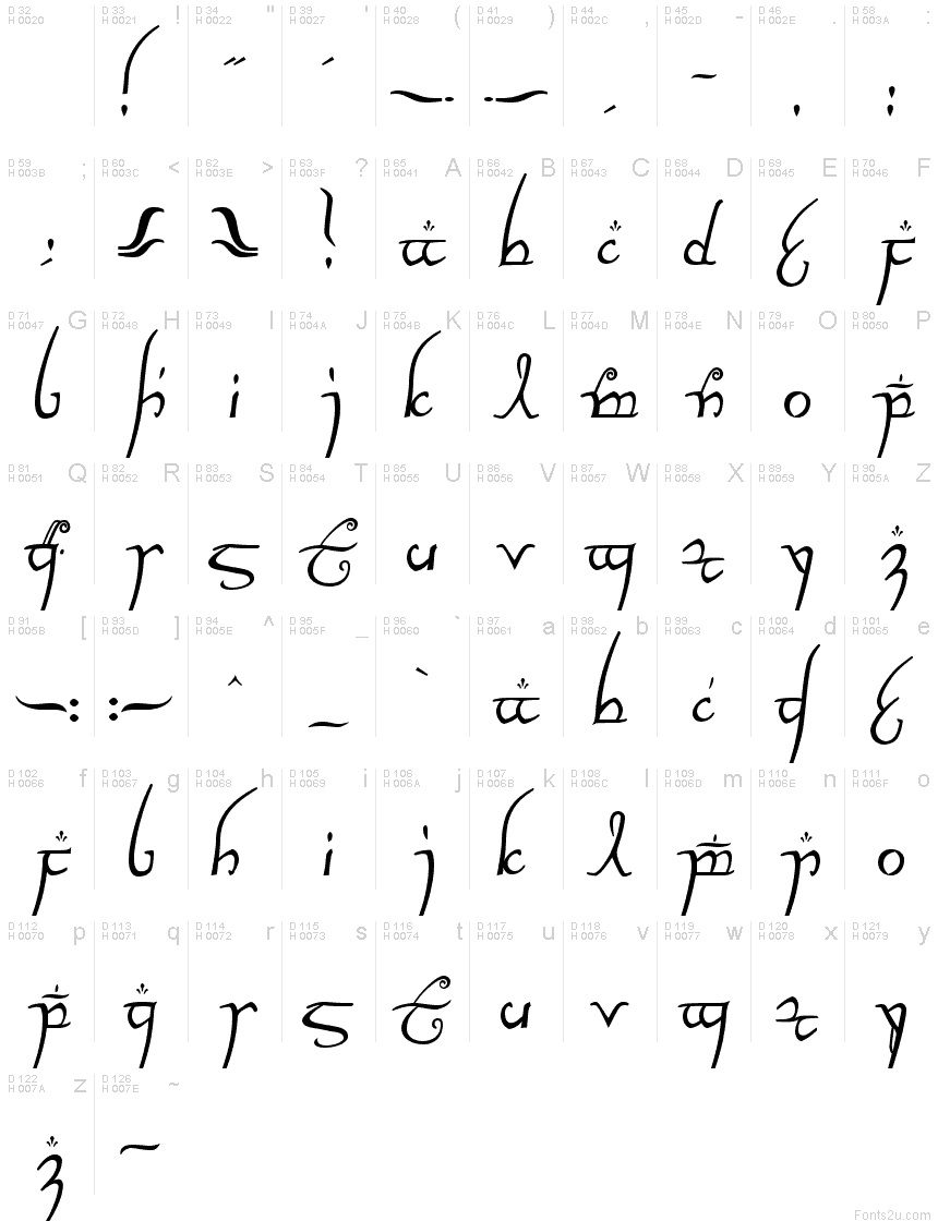 Elvish Lord Of The Rings Elvish Ring NFI font
