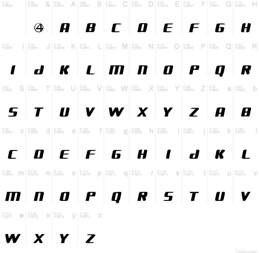 FANTASTIC FOUR MOVIE SLANT font