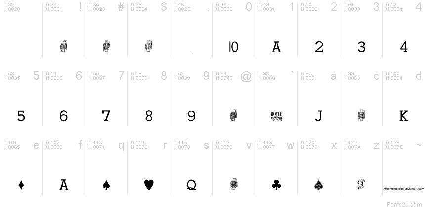 Cards poker fonts