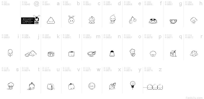 Kawaii food font fuente for Cuisine font