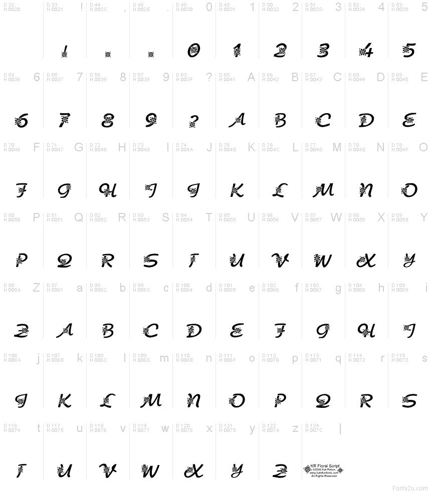 Kr floral script font