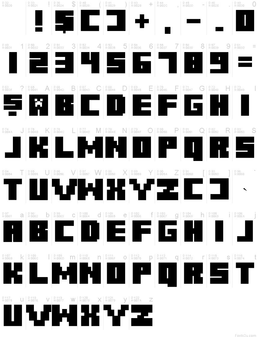 шрифт майнкрафт #5