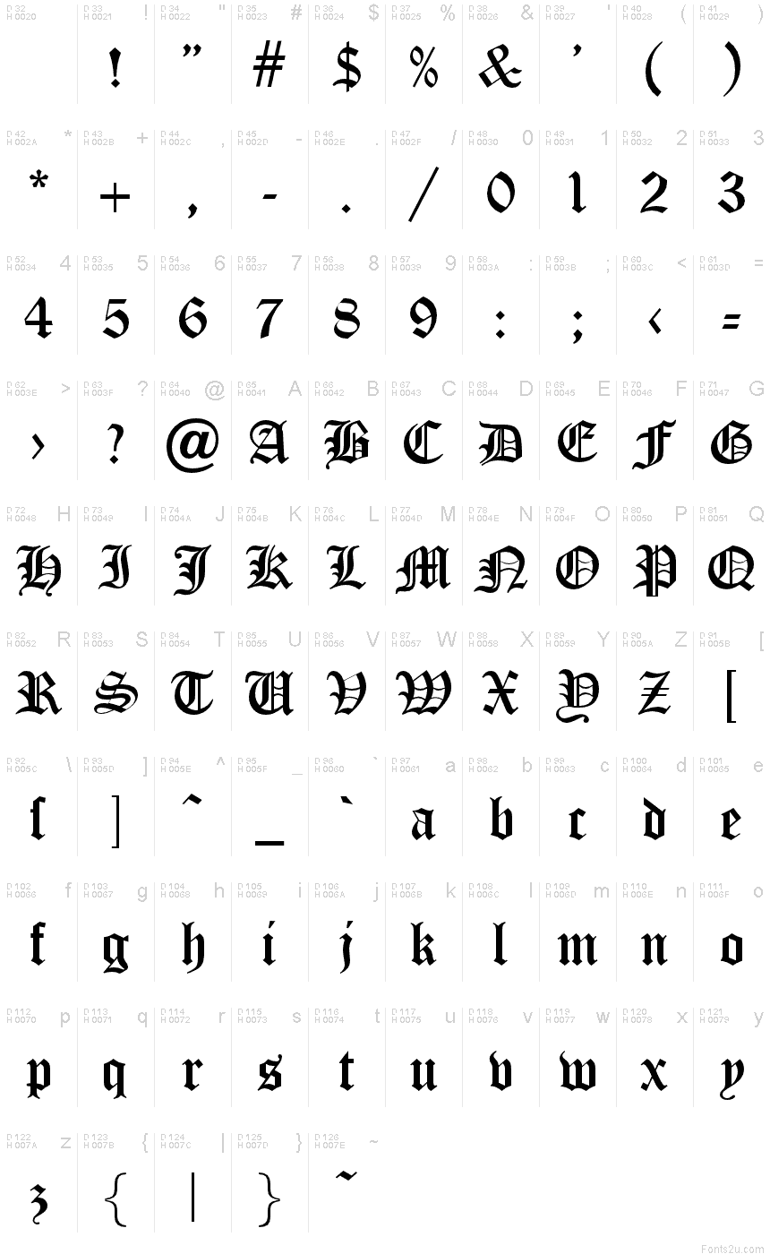 Old English Font Letters