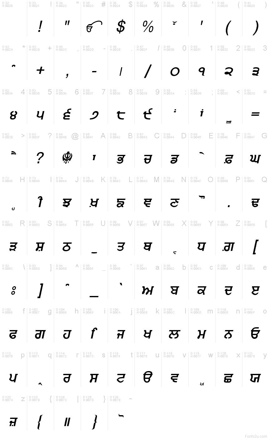 Punjabi bold italic font Punjabi calligraphy font