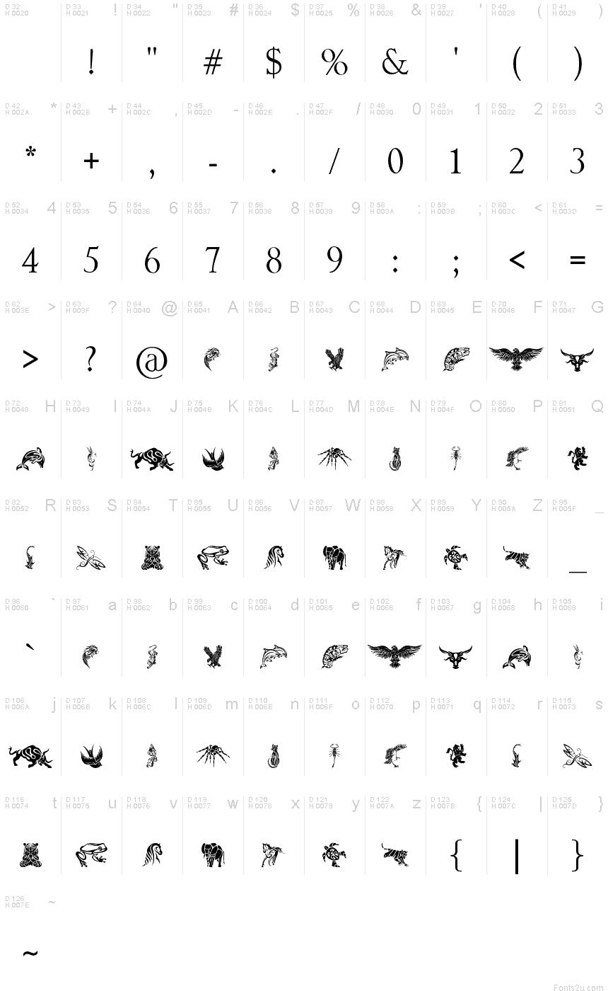 tattoo tribal animals Tribal Designs font Tattoo Animals