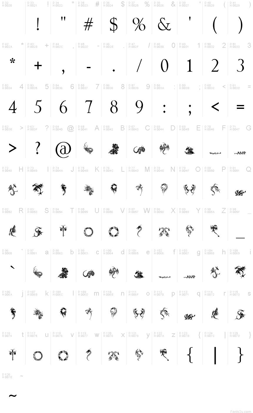 Tribal Dragons Tattoo Designs Font