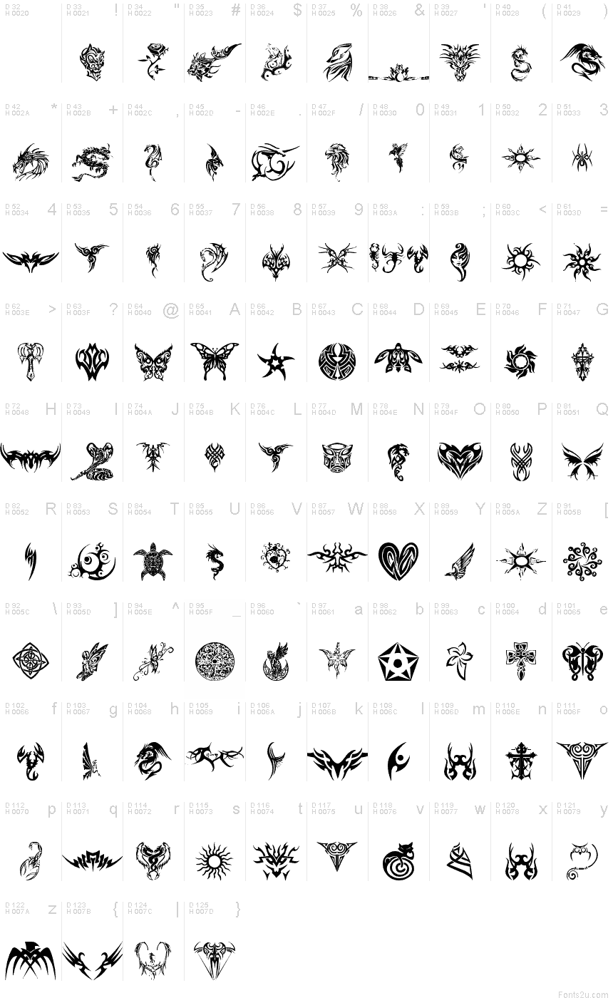 Tribal tattoo font font